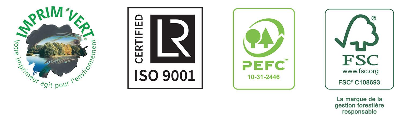 """logo certification Groupe Gaultier Cartonnages - Imprim'vert - ISO 9001 - PEFC - FSC"""